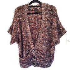 Ladies Vila Clothes Black & Beige Mohair Mix Cardigan Size L Shortsleeve