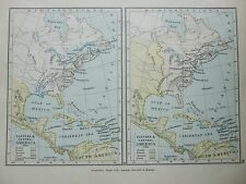 ANTIQUE PRINT MAP DATED 1905 EASTERN & CENTRAL AMERICA IN 1755 & 1763 COLOUR