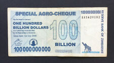 1 x 100 Billion Special Agro-Cheque Zimbabwe Dollars . Used.