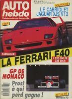 AUTO HEBDO n°625 du 18 Mai 1988 FERRARI F40 JAGUAR XJS V12 CAB