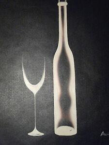 Black White Minimal Wine Large Oil Painting Canvas Art Contemporary Modern