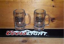COORS LIGHT BEER RAIL BAR MAT RUBBER COASTER & 2 TANKARD GLASS MUGS SET NEW