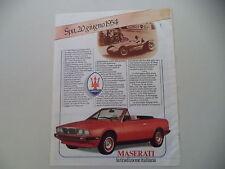 advertising Pubblicità 1985 MASERATI BITURBO SPIDER SPYDER