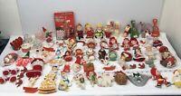 Huge Lot Vintage Kitsch Plastic Felt Cotton Christmas Ornaments Retro MCM