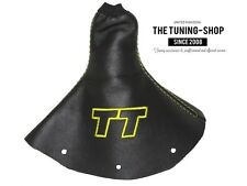 """For Audi TT 1998-2006 Gear Gaiter Black Leather """"TT"""" Yellow Embroidery"""
