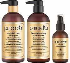 PURA D'OR Dor Gold Label Anti-Hair Loss Shampoo, Conditioner & Argan Oil, 3-pack