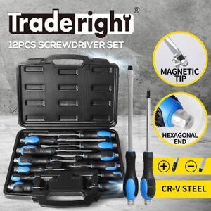 Screwdriver Set 12PCS Cr-V Magnetic Tip Hex End  Automotive Workshop Hand Tool