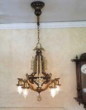 269 Vintage 20s 30s Ceiling Light lamp fixture art nouveau polychrome chandelier