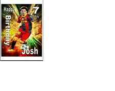"""PERSONALISED Lionel Messi Birthday Cake Topper A4 ICING SHEET 10""""x8"""" anyNameage"""