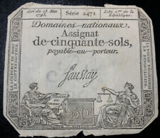1793 (Year 2) 50 Sols FRANCE Domaines Nationaux Assignat Signed Faussay 2471