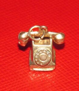 BEAUTIFUL VINTAGE 9ct SOLID YELLOW GOLD RARE ROTARY DIAL TELEPHONE CHARM, 3.0g