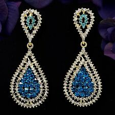 18K Gold Plated GP Blue Crystal Chandelier Drop Dangle Earrings 08418 New