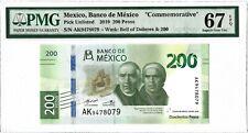 MEXICO 200 Pesos 2019, PMG 67 EPQ Superb Gem Unc, P-NEW, Pretty Type