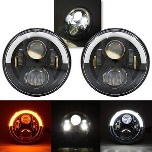 "7"" Black Projector 6500K LED Octane Headlight White & Amber Eyebrow DRL Pair"