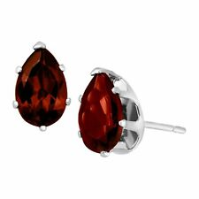 2 Ct Natural Garnet Pear-cut Stud Earrings in Sterling Silver