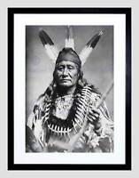 VINTAGE PORTRAIT RUSHING EAGLE SIOUX NATIVE AMERICAN FRAMED ART PRINT B12X12431