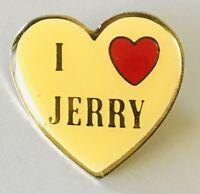 I Love Jerry Novelty Heart Shaped Pin Badge Rare Vintage (G2)