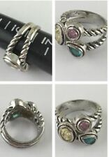 SILVER ON COPPER PASTEL BLUE YELLOW PINK CRYSTAL ANTIQUE STYLE RING SIZE 6