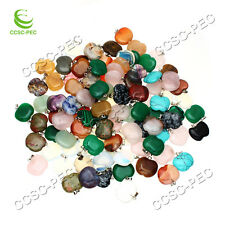 Wholesale natural mix Apple Gemstone stone Silver P Beads Pendant 10pcs/lot