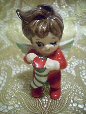 VTG Lefton Christmas Winking Girl Kid Pixie Angel Holds Stocking Orig.Tag Figure