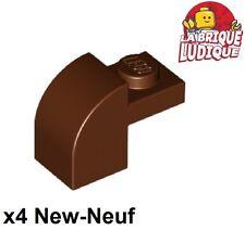 Lego - 4x Brique Brick Modified 1x2x1 x1/3 curved marron/reddish brown 6091 NEUF