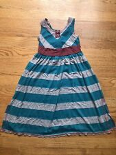Bonnie Jean Dress Sleeveless Teal Gray Striped Knit Girls Size 5