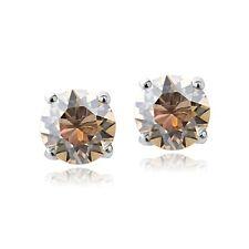 925 Sterling Silver Gold Shaddow Swarovski Elements November Birthstone Stud Ear