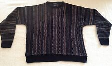 Dockers Ugly Black Navy and Brown Cosby Sweater Men's Medium