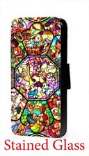 Disney Characters Stained glass art leather phone case for Samsung LG