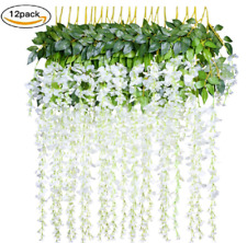 12 Packs Artificial Flowers Fake Wisteria Vine Ratta Wall Hanging Home Decor