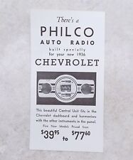 Antique PHILCO Auto Radio for Your 1936 Chevrolet Ad Pamphlet Flyer Leaflet