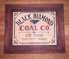 "Original Vintage Hand Painted ""BLACK DIAMOND COAL Co."" Sign Advertising Mining"