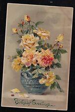 Antique Vintage Postcard Birthday Greetings - Flowers
