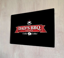 Dads BBQ Fathers day black sign A4 metal plaque pubs and clubs