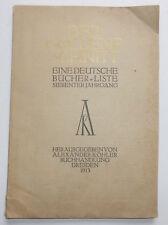 Der goldene Schnitt Eine deutsche Bücher Liste 1913 Köhler Buchhandlung Dresden