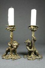 Paar Figürliche Bronze Kernzenleuchter Bär am Baum um 1900