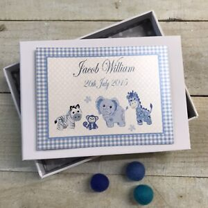 Personalised Baby Boy Photo Album 32 Pictures - Handmade Blue Toys Picture PL1