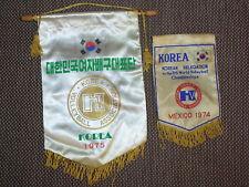 2 SOUTH KOREA 1970's VOLLEYBALL federation pennant streamer fanion flag