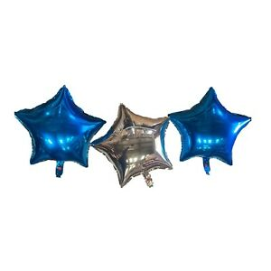 Two Blue and a Silver Heart Foil Balloons With Ribbon and Straw for Inflating