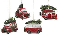 Vintage Hanging 4-PC Holiday Ornament Vehicle Truck Camper Bus Christmas Tree
