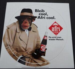 Werbe-Aufkleber Afri Cola Schimpanse Affe Da wird man wieder Mensch 90er