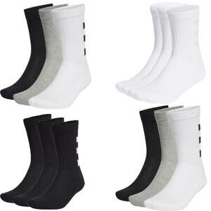 Adidas Mens Womens Crew Socks 3 Pairs Stripes Half Cushioned Long Cotton Socks