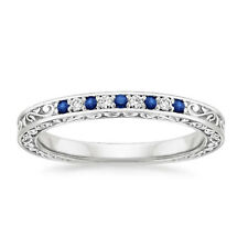 0.26 Carat Natural Diamond Natural Blue Sapphire Band Sterling Silver Size J K L