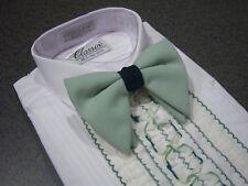 Vintage Men's Tuxedo Shirt - Green & White Detachable Flat Ruffles / Dickie