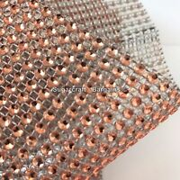 ROSE GOLD metalic Diamante Effect Mesh Ribbon Wedding Bridal Rhinestones Cake