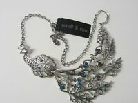 Scroll & Vine Peacock Collar Silver Tone Necklace NWT