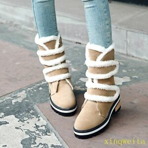 4 Colors Winter Women Mid Block Heels Ankle Snow Boot Suede Girl Furry Shoe Size