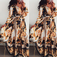 US Women Ladies Long Sleeve Floral Boho Women Party Bodycon Maxi Dress Beach