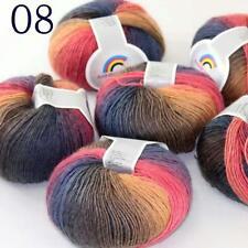Sale Soft Cashmere Wool Colorful Rainbow Wrap Shawl DIY Hand Knit Yarn 50grx6 08