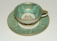 Johann Seltmann Vohenstraub Bavaria Green and Gold #2029 Teacup and Saucer Set
